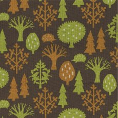 Woods Orange & Green on Milk Chocolate A lovely folklorethemed japanese fabric featuring hedgehogs birds  trees Please Click the image for more information.