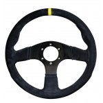 RPM SL S/W  Imola 330mm Suede Black Black Suede 330mm steering wheel with yellow center stripe Flat wheel for standard fitment Please Click the image for more information.