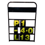 RPM 4 Row Aluminium Pit Board Made from a aluminium these pit boards are a high quality light weight unit with the following featuresBlack frame       4 working rows       Blank panel for team name920mm x 630mm lightweight Aluminium FrameSupplied with complete day glow number set Please Click the image for more information.