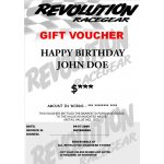 Gift Voucher Revolution Racegear Gift VoucherThe perfect gift idea for Birthdays and Christmas for the racer who has everythingRedeemable at all Revolution Racegear stores across AustraliaWHEN ORDERI. Please Click the image for more information.