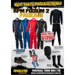 RPM PODIUM SUIT PACKAGE Package Includes RPM Podium2 Suit RPM Club Gloves RPM Indy 3 Boots Nomex Underwear set Nomex socks Nomex balaclava Please Click the image for more information.