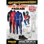 RPM SPRINT SUIT PACKAGE Package Includes RPM Sprint Suit RPM Start Gloves RPM Indy 3 Boots RPM Underwear set Nomex Socks Nomex Balaclava  Please Click the image for more information.