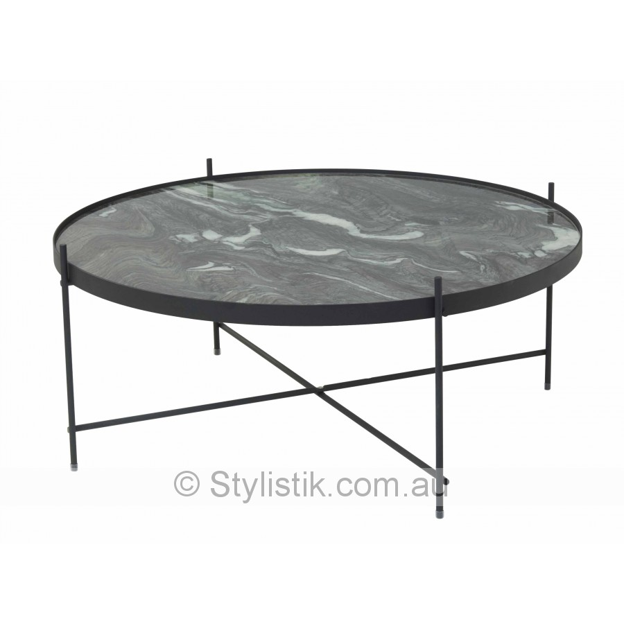 Marble look glass coffee table with black metal frame for Metal frame glass coffee table