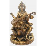 Saraswati, Hindu Goddess Statue, Gold, H:  530 x W: 340 x D340mm Saraswati Hindu Goddess Statue Gold H  530 x W 340 x D340mmGoddess Saraswati is usually represented with four arms and seated on a lotus  In her . Please Click the image for more information.