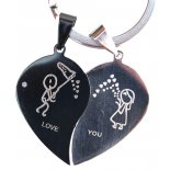 Love You Split Hearts, Double Keyring, Black & Silver, H:  70 x W:  40mm Love You Split Hearts Double Keyring Black  Silver H  70 x W  40mm Please Click the image for more information.