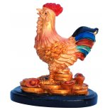Rooster Statue, Peach Gold on Black Stand, H:  80 x 75 x 50mm Rooster Statue Peach Gold on Black Stand H  80 x 75 x 50mm Please Click the image for more information.