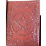 Leather bound, hand made paper journal, embossed various designs, A4 size  Leather bound hand made paper journal embossed various designs A4 size  H  255mm x W  175mm Available in Pentagram BK076D or Tree of Life BK076F Please Click the image for more information.