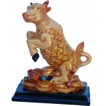 Ox/Cow Statue, Peach Gold on Black Stand, H: 85 x W: 70 x D: 50mm OxCow Statue Peach Gold on Black Stand H 85 x W 70 x D 50mm Please Click the image for more information.