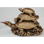 3 Turtle Statue Antique Gold 3 Turtle Statue Antique Gold H 80mm x W  125mm x D  70mm  The three turtles stacked on top of each other is a symbol of family longevity and abundanceThe Turtle is a highly potent symbol in many cultures  In Japa. Please Click the image for more information.