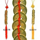 9 gold Emperor Coins Tied with Yellow Tassel 9 gold finish Emporer coins tied with yellow ribbonThese important I Ching coins may be placed in the wealth sector of your home or office which is the South East . Please Click the image for more information.