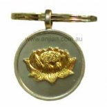 Gold Lotus on silver keyring Golden Lotus on silver keyring  Peace Attainment and PurityIn ancient Egypt the Lotus flower was called the Sacred  Lotus Hind. Please Click the image for more information.