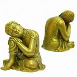 "Buddha Statue - Leaning on one knee sleeping - ""Peace"" Green/Gold 205mm Buddha Statue  Leaning on one knee sleeping  Peace  Please Click the image for more information."