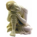"Buddha Statue - Leaning on one knee sleeping - ""Peace"", Ivory/Gold 205mm Buddha Statue  Leaning on one knee sleeping  Peace  Please Click the image for more information."