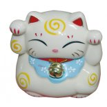 Maneki Neko Cat figurine This Maneki Neko Cat figurine is a money box also Made from ceramic and seated on a padded red mat and with a golden bellM. Please Click the image for more information.