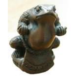 Netsuke Sumo Toad Sumo Toad statuefigurine in bronze finish Strength inner calm protection and honourThe Sumo Toad stands in the defense position he is highly disciplined and stands upon a lotus flower the symbol of purity and spiritual unfolding Please Click the image for more information.