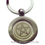Pagan Pentagram symbol, in high quality silver finish keyring Pentagram Symbol High Quality Silver Keyring Pentagram symbol rotates within larger circlePagan symbolism Please Click the image for more information.