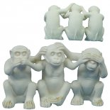 three monkeys statue Speak no evil Hear no evil and See no evil Thee white monkeys statueA cute statue that each action is linked to the others action Mea. Please Click the image for more information.