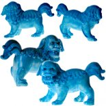 Sky Blue Fu Dogs Brilliant Sky Blue finish on the pair of Fu Dogs symbols of great protection in Asia Also known as Temple lions C. Please Click the image for more information.