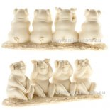 White set of four pigs statues  Hand painted and hand finished statuesWhite 4 Pigs Statue of Right Behaviour  Hear no evil speak no evil do no evil and see no evil Please Click the image for more information.