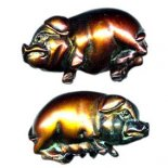 Bronze finish Pig statues Very cute male and female bronze finish pig statues This pair of loving pigs comes with a story and in a padded gift boxW. Please Click the image for more information.