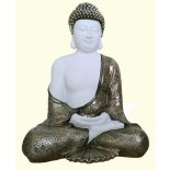 White Meditating Buddha statue White Meditating Buddha statue wearing antique bronze robes Please Click the image for more information.