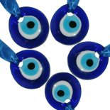 Set of five blue evil eyes glass pendents,  Set of five blue evil eyes glass pendents  Please Click the image for more information.