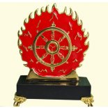 Feng Shui Flaming Magic Wheel Flaming Magic Wheel stand in brass and hand painted Wheel of DharmaThis talisman represents the Fire element which is associated with recognition and careerBeing o. Please Click the image for more information.