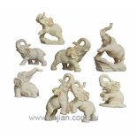 SET OF 7 ELEPHANTS statues A set of seven white Elephants representing strength made from stone and resin composite and in padded gift box with story card . Please Click the image for more information.