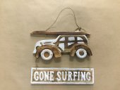 Wooden whitewash car with surfboard sign  Please Click the image for more information.