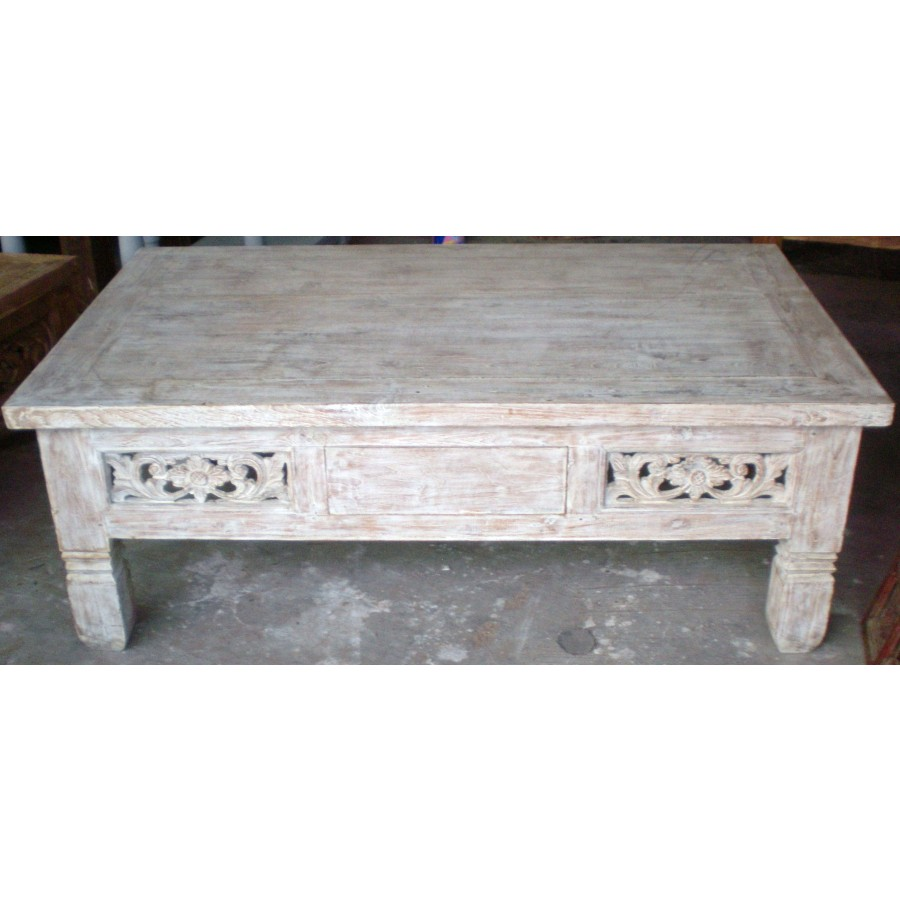 Pe 4738 boat teak whitewash coffee table coffee and side tables balinese furniture buddha Whitewash coffee table