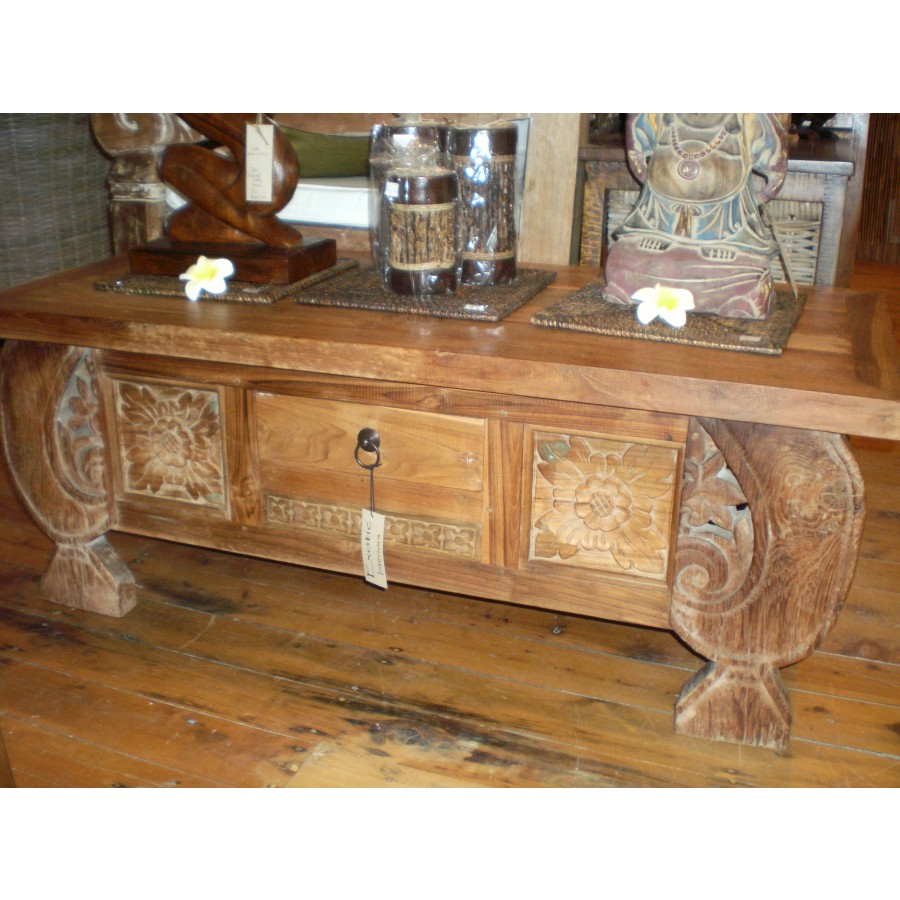 5713 Antique Javanese Boat Teak Coffee Table Coffee And Side Tables