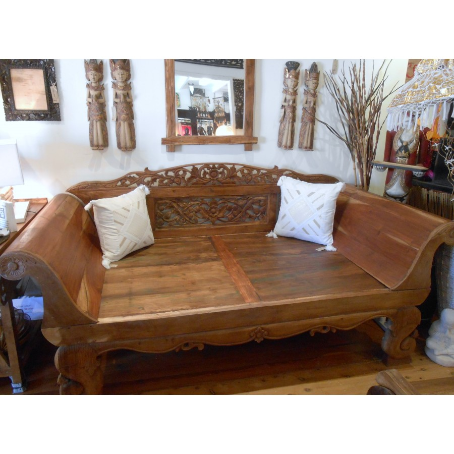 Aw 4692 Antique Javanese Boat Teak Daybed Home Hidden Balinese Furniture Buddha Statues