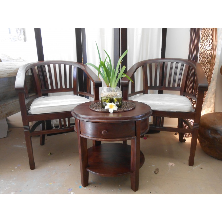 On 1745 Modern Balinese Solid Teak 3 Piece Setting Balinese And Indonesian Furniture