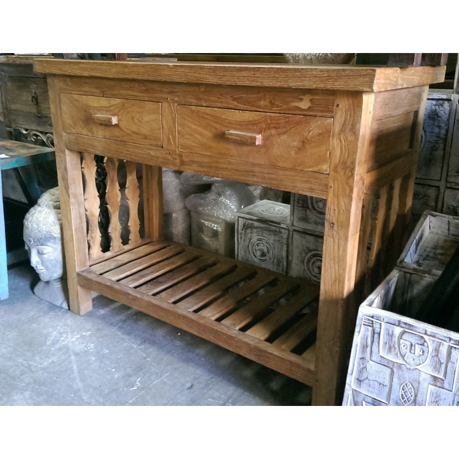 Pe 6016b 2 Drawer Console Solid Boat Teak Balinese And Indonesian Furniture Balinese