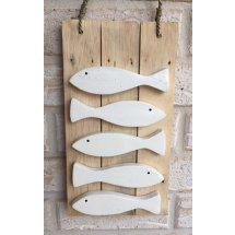 Wooden Handcrafted School of Five White Fish Sign Wall Plaque  Please Click the image for more information.