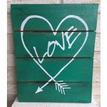 Turquoise Green Wooden Handcrafted Love Heart Aztec Arrow Sign Wall Art  Please Click the image for more information.