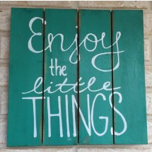 Turquoise Green Wooden Handcrafted Enjoy the Little Things Sign Wall Art  Please Click the image for more information.