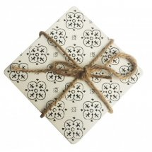 Set of 4 Wooden Black and White Print Coasters  Please Click the image for more information.