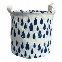 Blue Tear Drop Canvas Storage Basket  Please Click the image for more information.