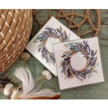 Set of 4 Glass Boho Feather Wreath Coasters  Please Click the image for more information.