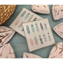 Set of 4 Glass Boho Multi Feathers Coasters  Please Click the image for more information.