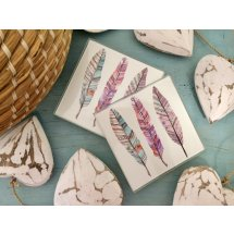 Set of 4 Glass Boho Three 3 Feathers Coasters  Please Click the image for more information.