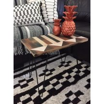 Wood Timber and Metal Boho Morrocan Brown Black Cream Coffee Side Table   Please Click the image for more information.