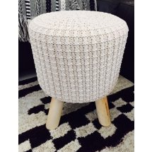 Natural Cream Woven Ottoman Stool with Timber Legs   Please Click the image for more information.
