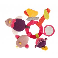 moulin roty les cousins hen activity ring moulin roty les cousins hen activity ring is a pink early learning rattle features many play activities a hen with a rattle body a squeaky chick a butterfly with crinkle paper in her wings a flower that vibrates a mirror  a pacifier clip23cm. Please Click the image for more information.