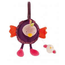 moulin roty les cousins musical hen Pivoine the musical hen hangs by a ribbon and has rattles in her feet The music plays when the egg hidden under her wing is pulled . Please Click the image for more information.