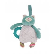 moulin roty les pachats teething ring Les Pachats cat rattle with teething ring by Moulin Roty is made from a super soft twotoned fur and turquoise velour with knitted jersey accents . Please Click the image for more information.