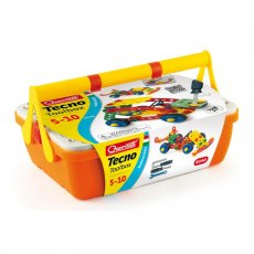 Quercetti tecno toolbox set of 128 All kids are fascinated with their folks toolbox Our Tecno Toolbox comes with a realistic and completely safe reproduction of the most common handyman tools including a cross tip screwdriver a slotted screwdriver a wrench bar and a hex key The set. Please Click the image for more information.