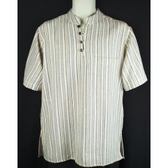 100% Cotton Shirt, Short Sleeve,4 Button Kurta,Nehru Collar,Hippy,Boho 100 Cotton Striped Shirt  short Sleeve 4 Button Kurta with Nehru CollarTraditional Indian style Kurta handmade in Nepal using 100 CottonNehru . Please Click the image for more information.