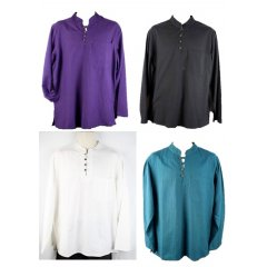 Cotton/Flax Shirt, Long Sleeve,4 Button Kurta,Hippy,Boho  FlaxCotton Blend Shirt  Long Sleeve 4 Button Kurta with Nehru CollarFlax is two to three times stronger than cotton making it one of the strongest natural fibres known Blend. Please Click the image for more information.